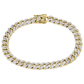 "10K Yellow Gold 8.5mm Solid Miami Cuban 9"" Genuine Diamond Link Bracelet 3.16 CT"