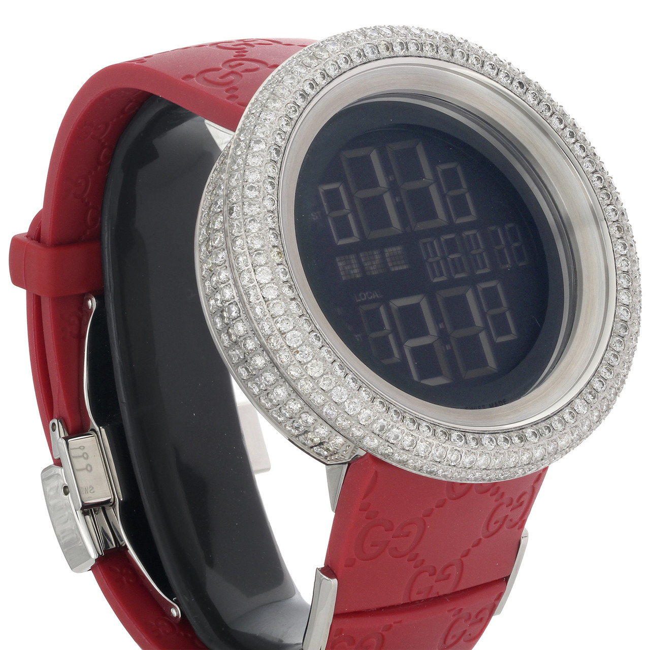 dca1f9010ce ... Mens Custom Full Case Digital Red I-Gucci YA114212 Genuine Diamond Watch  9 CT. Image 1