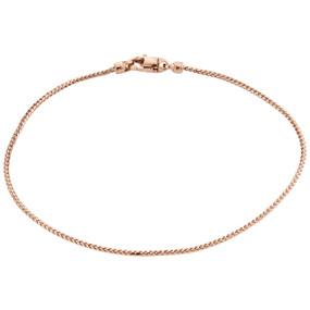 """10K Rose Gold Solid Box Franco Shiny 10"""" Anklet Bracelet Thick Lobster Clasp"""