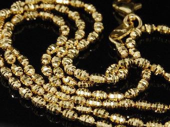 10K Yellow Gold Diamond Cut Bead Rice Chain 2mm Italian Necklace 20 Inches