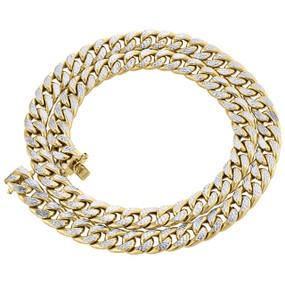 "10K Yellow Gold Diamond Cut Hollow Miami Cuban Link Chain 10.50mm Box Clasp 24"""
