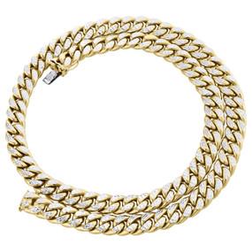 "10K Yellow Gold Diamond Cut Hollow Miami Cuban Link Chain 8.50mm Box Clasp 20"""