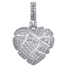 "10K White Gold Diamond Shattered Heart Pendant Broken Love 0.80"" Charm 0.27 CT"