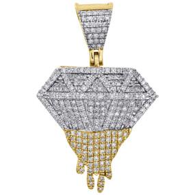 "10K Yellow Gold Diamond Dripping Pendant Fancy Design 1.20"" Charm 0.42 CT."