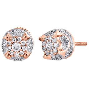 10K Rose Gold Genuine Diamond 4 Prong Studs 3D Raised 7.50mm Earrings 1/2 CT.