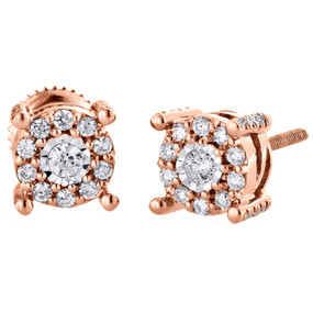 10K Rose Gold Diamond Flower Circle Studs 4 Prong Round Earrings 0.35 CT.