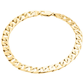 10K Yellow Gold Solid Textured Miami Cuban Link 7mm Mens Fancy Bracelet 8.50""