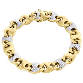 10K Yellow Gold Two Tone Mens Diamond Cut 11mm Puff Gucci Link Bracelet Clasp 8""