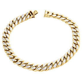 "10K Yellow Gold Mens 8.50mm Diamond Cut Hollow Miami Cuban Bracelet Box Clasp 9"""