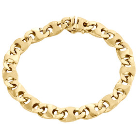 10K Yellow Gold Mens Diamond Cut 9mm Puff Gucci Link Bracelet Fancy Box Clasp 8""
