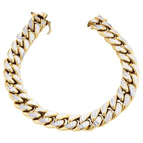 "10K Yellow Gold Mens 12mm Diamond Cut Hollow Miami Cuban Bracelet Box Clasp 9"""