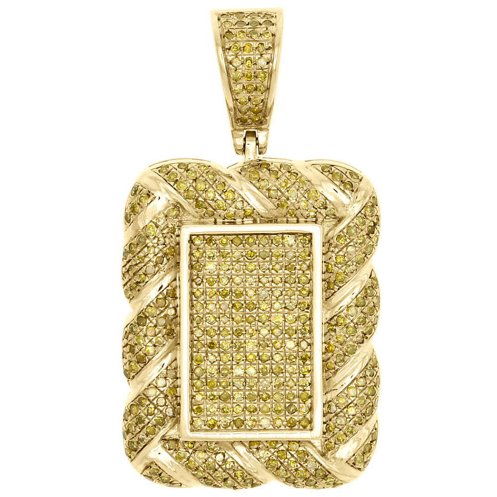 d357bef74c089 10K Yellow Gold Real Diamond Rope Border Square Pillow Pendant Charm 1.06  CT.