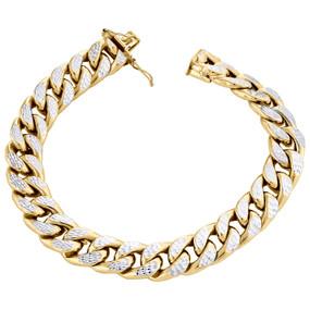 "10K Yellow Gold Mens 10.5mm Diamond Cut Hollow Miami Cuban Bracelet Box Clasp 8"""