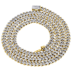 """10K Yellow Gold Mens 5.25mm Miami Cuban Link Diamond Chain 22"""" Necklace 2.10 CT."""