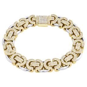 Solid 10K Two Tone Gold Diamond Fancy Byzantine Link 13.50mm Bracelet 8.25 CT.