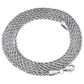 10K White Gold 1.65mm Diamond Cut Solid Rope Link Chain Shiny Necklace 30 Inch
