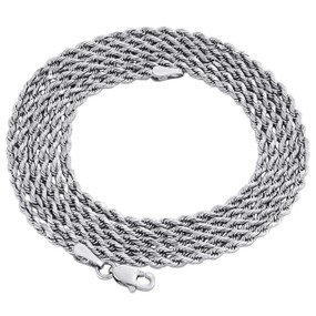 10K White Gold 2.10mm Diamond Cut Solid Rope Link Chain Shiny Necklace 30 Inch