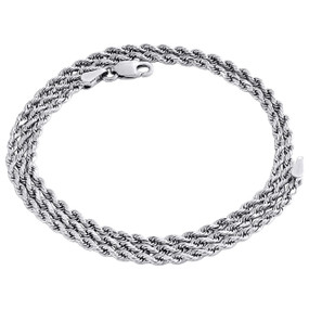 10K White Gold 2.15mm Diamond Cut Solid Rope Link Chain Shiny Necklace 16 Inch
