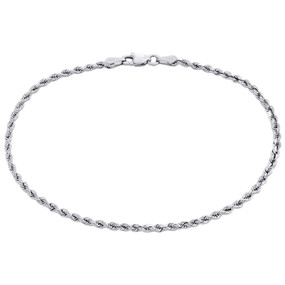 10K White Gold Unisex 2.15mm Diamond Cut Solid Rope Link Shiny Bracelet 8 Inch