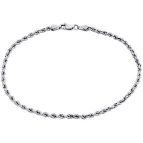 10K White Gold Unisex 2.50mm Diamond Cut Solid Rope Link Shiny Bracelet 8 Inch