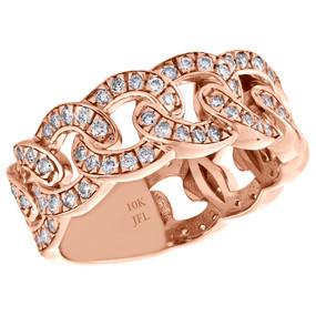 10K Rose Gold Mens Diamond Miami Cuban Link Pinky Ring 9mm Weddding Band 1.22 CT