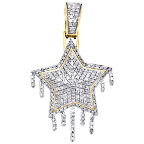 "10K Yellow Gold Diamond Double Drip Star Pendant 1.45"" Mens Pave Charm 0.83 CT."