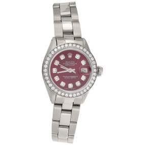 Womens 6917 Rolex DateJust 26mm Diamond Watch Red Dial Steel Oyster Band 1 CT.
