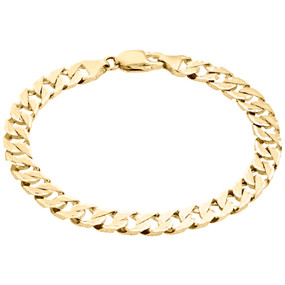 10K Yellow Gold Brushed Matte Texture Solid Fancy Cuban Link 7mm Bracelet 8.50""