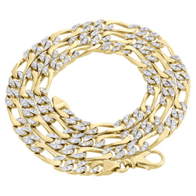 """10K Yellow Gold 5.65mm Handset Diamond 3D Figaro Link Chain 24"""" Necklace 2.45 CT"""