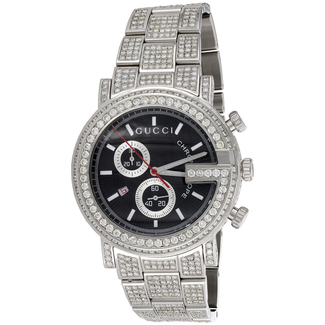 d03b45d3675 Mens Ya101309 Custom Diamond Gucci G-Watch Black Dial 44mm ...