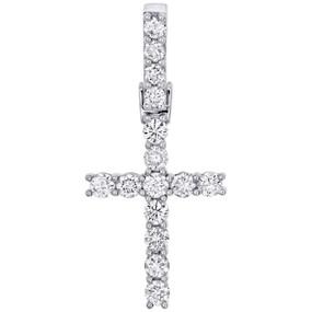 10K White Gold Prong Set 1 Row Solitaire Diamond Cross Pendant Charm 0.92 CT.
