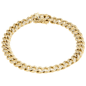 10K Yellow Gold 8mm Solid Miami Cuban Box Clasp Simulated Diamond Bracelet 8.50""