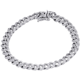 10K White Gold 8mm Solid Miami Cuban Box Clasp Simulated Diamond Bracelet 8.25""