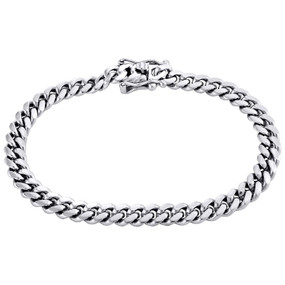 10K White Gold Mens 6.50mm Solid Miami Cuban Link Fancy Box Clasp Bracelet 8""