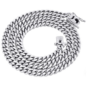 10K White Gold 8.75mm Solid Miami Cuban Link Necklace Box Clasp Chain 24 Inch