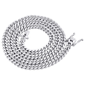 10K White Gold 6.50mm Solid Miami Cuban Link Necklace Box Clasp Chain 26 Inch