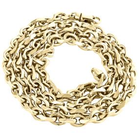 """10K Yellow Gold 5.70mm Solid Oval Rolo Link Chain Handmade Italian Necklace 24"""""""