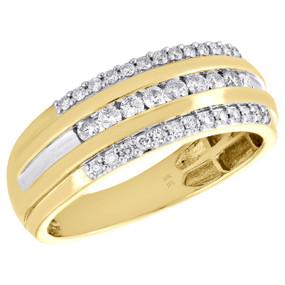 10K Yellow Gold Mens Round Cut Diamond Channel Set Wedding Band 8mm Ring 1/2 CT.