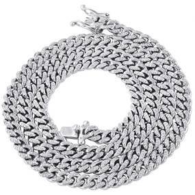 "10K White Gold Round Diamond 6.50mm Solid Miami Cuban Chain 26"" Necklace 2.90 CT"