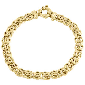 14K Yellow Gold 7mm Twisted Interlink Byzantine Fancy Link Italian Bracelet 8""
