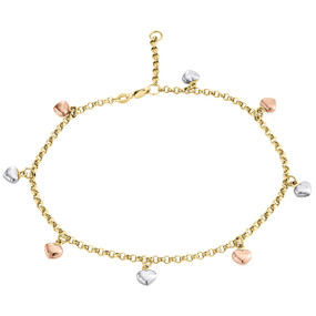 10K Rose White Yellow Gold 2.50mm Rolo Link Puff Heart Charm Anklet Bracelet 10""