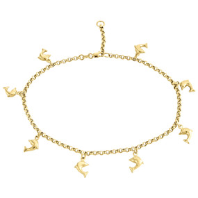 10K Yellow Gold 2.50mm Rolo Link Dolphin Charm Anklet / Bracelet Extension 10""
