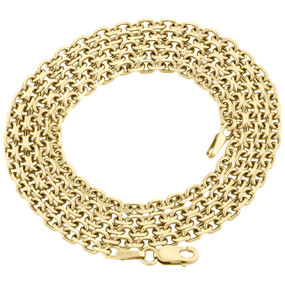 """10K Yellow Gold 2.75mm Rectangle Square Oval Rolo Fancy Link Chain Necklace 26"""""""