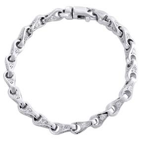 "10K White Gold 6.70mm Diamond Teardop 3D Link Bracelet 8.50"" Bezel Set 3.66 CT."