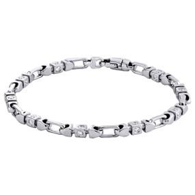 "10K White Gold 4.40mm Diamond Fancy Link 3D Bracelet 8.50"" Bezel Set 1.60 CT."