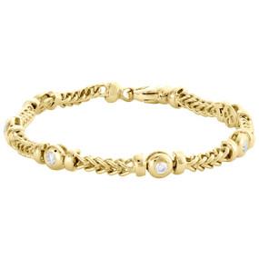 "10K Yellow Gold Round Diamond 7mm Franco Link 8.50"" Bezel Set Bracelet 1.08 CT."