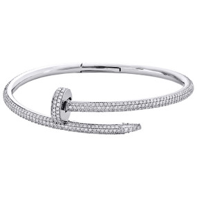 14K White Gold Round Diamond Nail Bangle 21CM Pave Eternity Bracelet 5.11 CT.