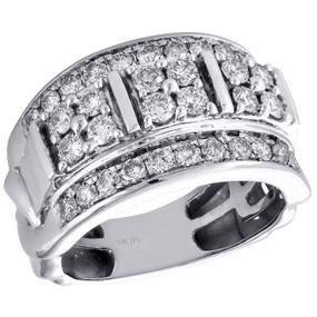 10K White Gold Round Diamond Domed Mens Statement Pinky Ring Wedding Band 2 CT.