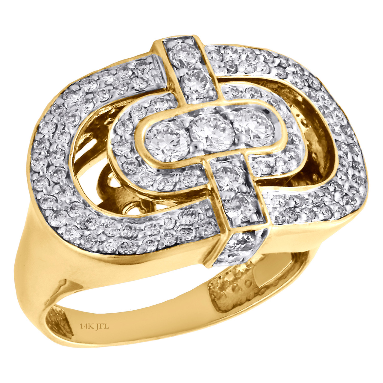 f2d9727c0265b 14K Yellow Gold Three Stone Diamond Double Oval Mens Statement Pinky Ring 1  CT.