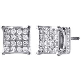 de291eb05 10K White Gold Round Diamond 8.25mm Square 4 Prong Stud 3D Earrings 0.50 CT.